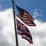 Hawiian and American flag